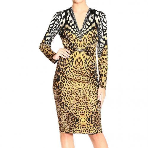 Roberto Cavalli Long sleeve v neck jaguar print buckle dress