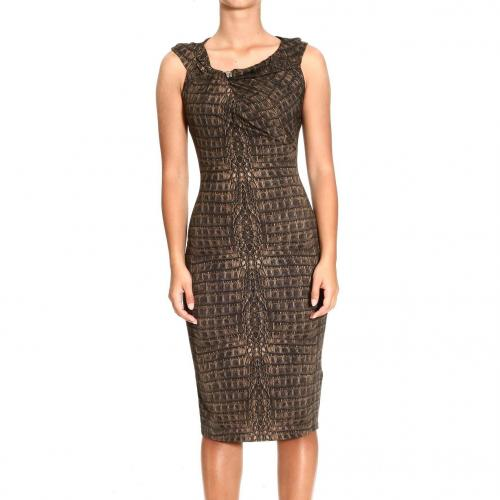 Roberto Cavalli Short sleeve curled jersey crocodile print dress