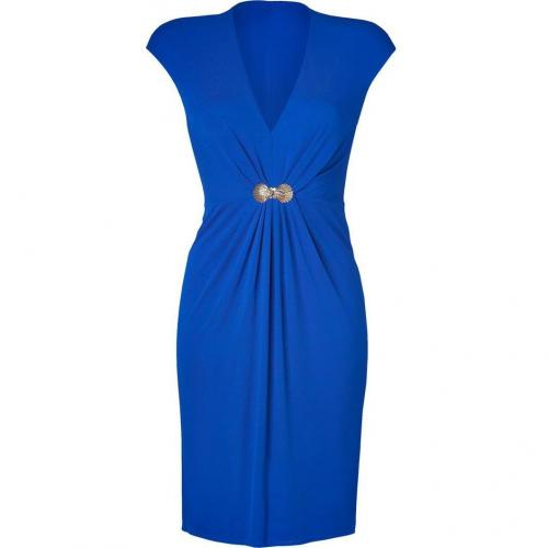 Roberto Cavalli Ultramarine Draped Dress with Brooch