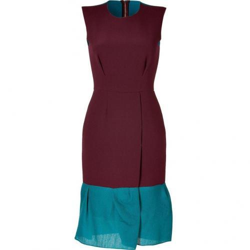 Roksanda Ilincic Burgundy/Petrol Wool-Crepe Midi-Dress