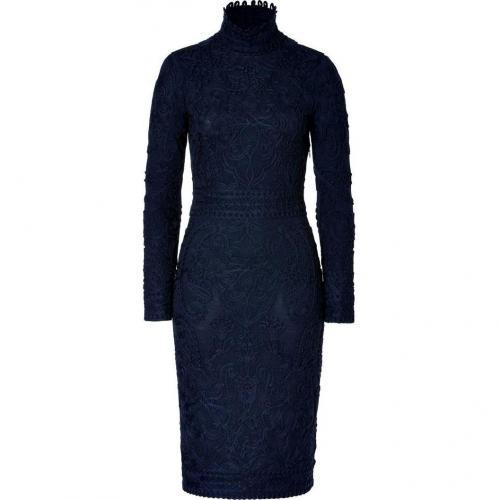 Salvatore Ferragamo Midnight Blue Embroidered Wool Dress