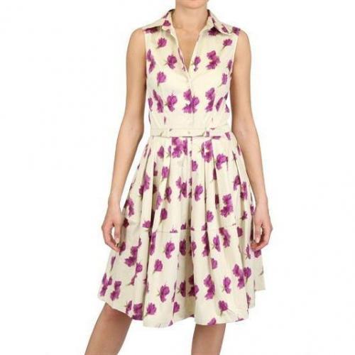 Samantha Sung Baumwoll Stretch Kleid Beige mit Blumen