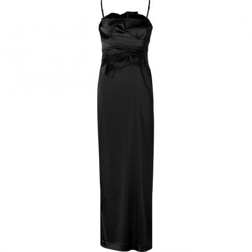 Steffen Schraut Black Satin Ruffle Diva Gown