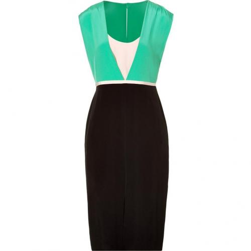 Tibi Black and Mint Color Block Silk Dress
