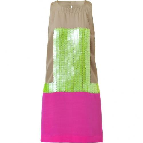 Tibi Sand/Magenta and Neonyellow Sequin Dress