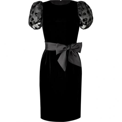 Valentino Black Belted Velvet Dress