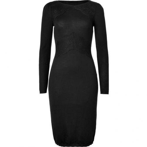 Valentino Black Wool Lace Trimmed Dress