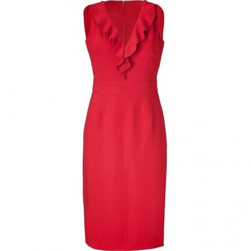 Valentino Crimson Red Ruffle Sheath Dress