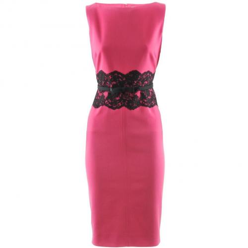 Valentino Fuchsia Belted Lace Dress