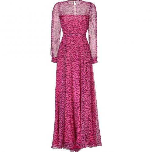 Valentino Fuchsia/Black Leopard Print Belted Silk Gown