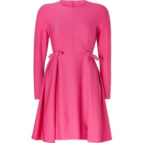 Valentino Fuchsia Long Sleeve Wool Dress with Bows