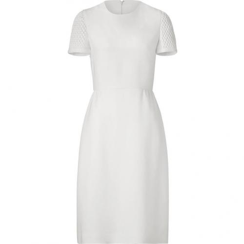 Valentino Ivory Silk Dress with Matelassé Sleeves