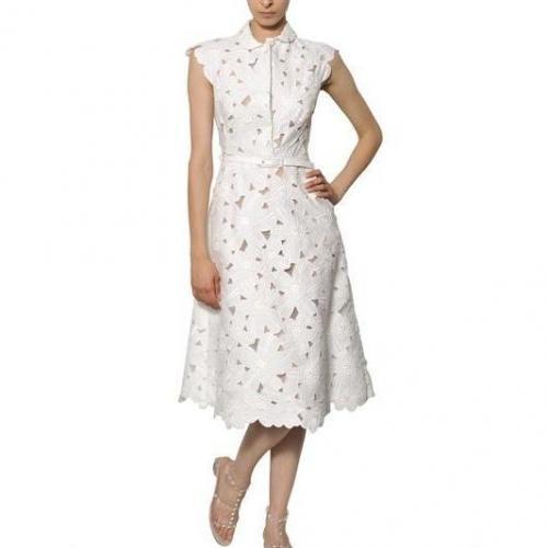 Valentino Kleid Aus Baumwollpiqué Mit Gänseblümchenstickerei