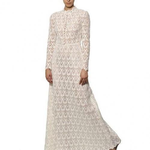 Valentino Langes Kleid Aus Baumwollmakramee