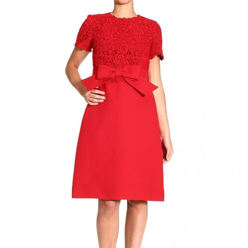 Valentino Short sleeve lace wool bow dress