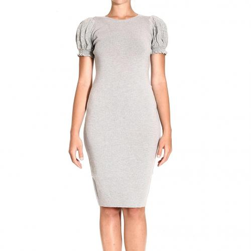 Valentino Short sleeve round neck wool rouffle sleeve dress