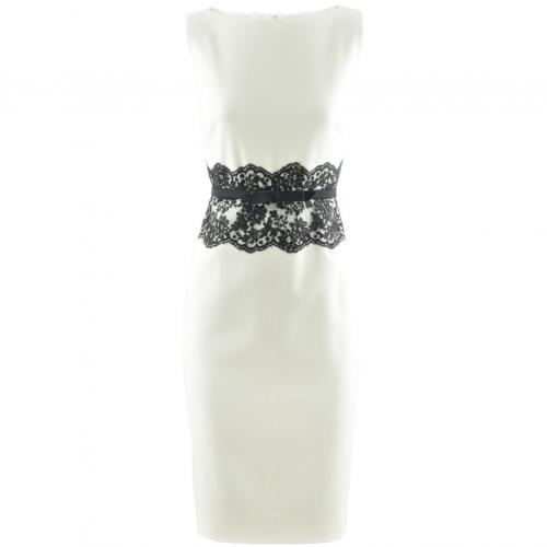 Valentino White Belted Lace Dress