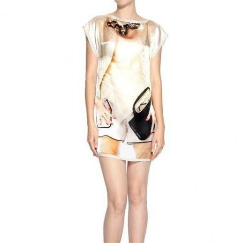 Venera Arapu Trompe L'Oeil Bedrucktes Seiden Satin Kleid White