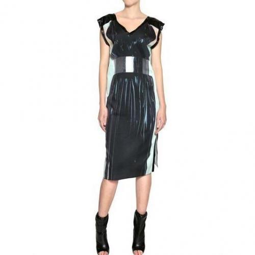 Venera Arapu Trompe L`Oeil Druck Stretch Jersey Kleid