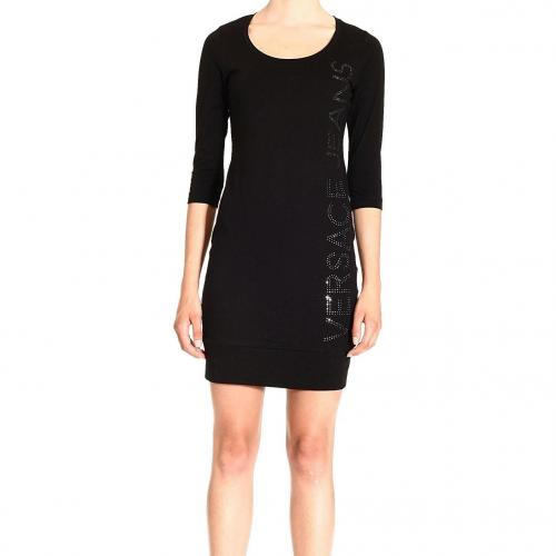 Versace 3/4 sleeve wide neck crystals logo dress