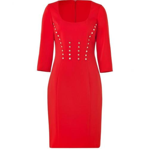 Versace Bright Red Pencil Dress with Medusa Buttons