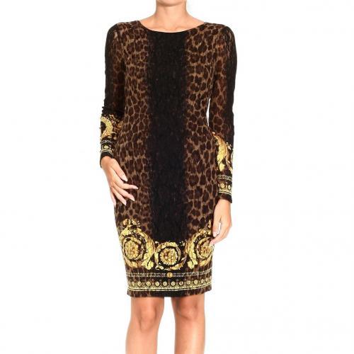 Versace Jersey animal print lace dress