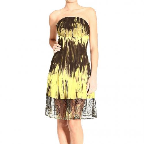 Versace Jersey lace bottom print strapless dress