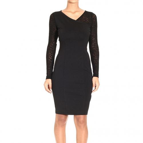 Versace Long sleeve jersey lace dress