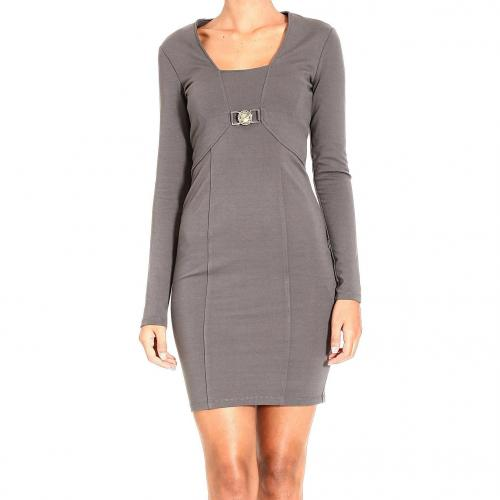 Versace Long sleeve milan stitch squared neck buckle dress