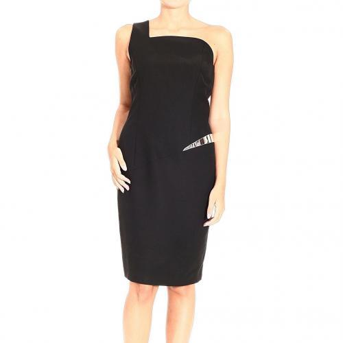 Versace One shoulder cady asymmetric files dress