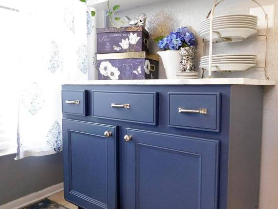 Wanna test out a new kitchen color? This tutorial to repurpose a cabinet into a kitchen buffet is an easy DIY project you can use as a tester. I painted a glossy furniture piece without heavy sanding. I used the same process to paint kithen cabinets. The before and after photos will help decide. #thrifted
