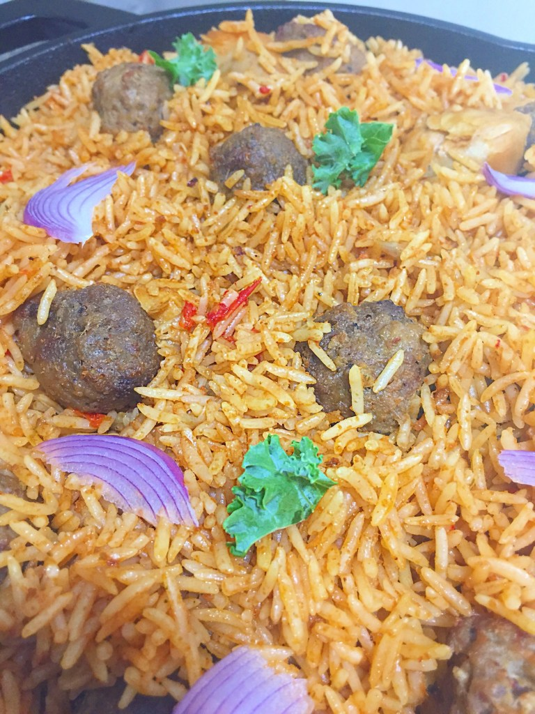 Skillet Nigerian Coconut Jollof Rice and meatballs combo