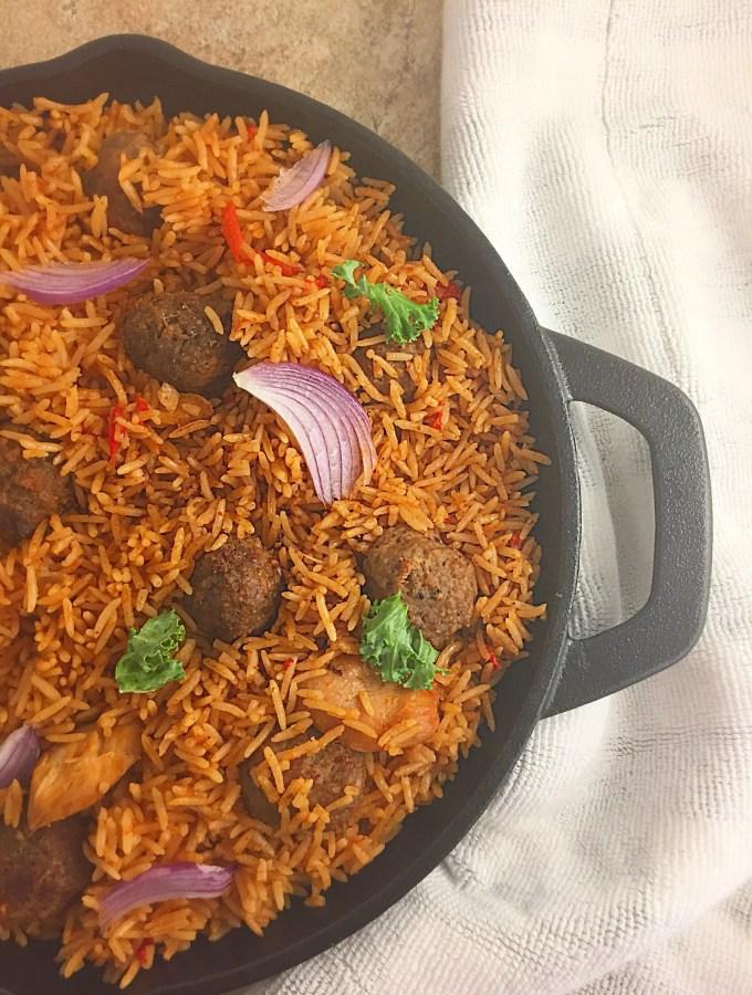 Skillet Nigerian Coconut Jollof rice, meatballs combo (oven cooked)