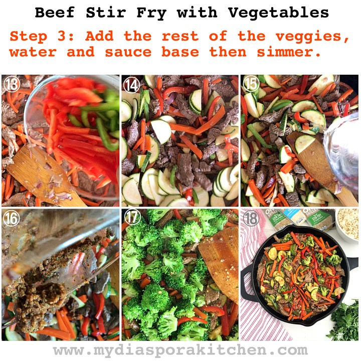 Beef Stir fry and vegetables in a skillet step by step guide