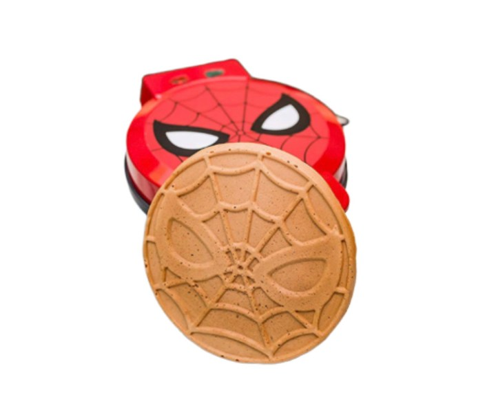 Spiderman themed waffle maker with a Spider-Man waffle