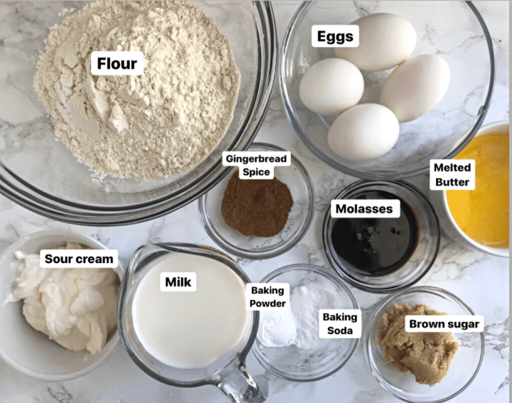 gingerbread waffles ingredients; eggs, flour, sour cream,molasses, melted butter, milk, brown sugar, baking soda and baking powder