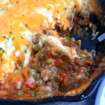 close view of cottage pie showing meat filling