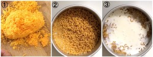 Collage showing steps to making air fryer Mac and cheese. Images show the grated cheese, the dry elbow pasta and when water and milk are added