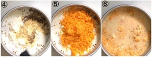Collage showing how to make Mac and cheese in the air fryer. Images show the addition of spices, cheese and when everything has been stirred together