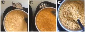 Collage showing how to finish off cooking Mac and cheese in the air fryer