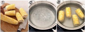 collage showing steps on how to boil corn on the cob