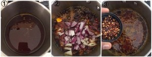 collage showing onions being sauteed in palm oil