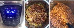Collage showing Instant pot timer and cooked beans