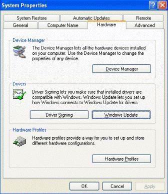 System Properties Hardware Tab