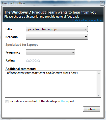 Windows 7 Feedback Tool