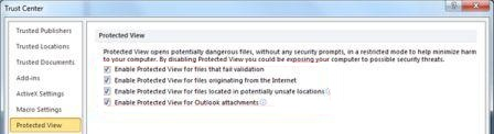 Disable or Enable Office 2010 Protected View
