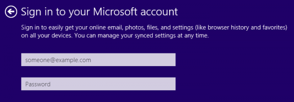 Sign into Microsoft Account in Windows 8 & 10