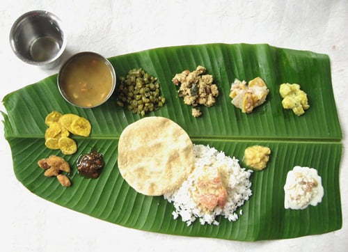 Kerala Sadya on a banana leaf