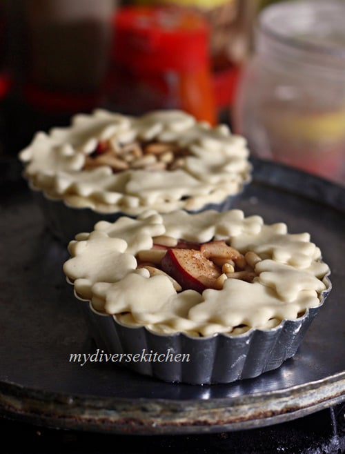 mini apple pies ready for oven