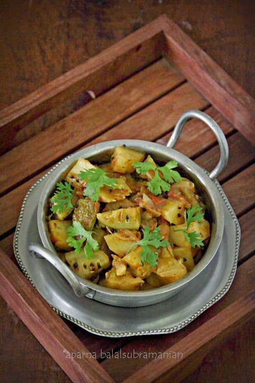 Indian Style Stir-fried Spine/ Spiny Gourd (Kantola/ Phaagil) And Potatoes